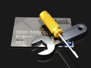 Tools and debit card stacked together